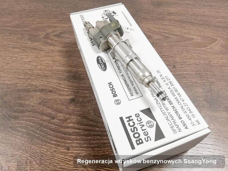 Wtryskiwacz do silnika z auta ze znaczkiem SsangYong po zrealizowaniu serwisu regeneracja wtrysków benzynowych wyregulowany na specjalistycznej stacji diagnostycznej przed wydrukiem parametrów
