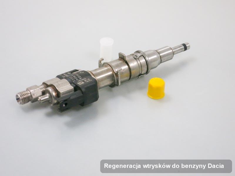 Wtryskiwacz do benzyny do samochodu marki Dacia po wykonaniu zlecenia regeneracja wtrysków do benzyny wyczyszczony na specjalistycznej maszynie przygotowany do wysyłki